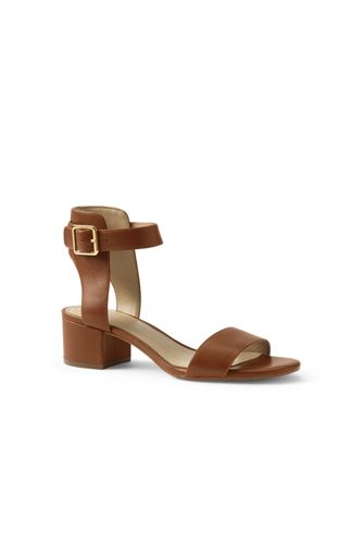 Women's Regular Block Heel Leather Sandals