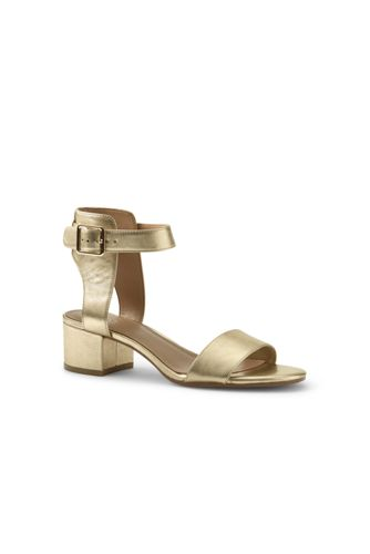 Womens Regular Block Heel Leather Sandals - 4.5 - Yellow Lands End Lowest Price For Sale bmsnOFft