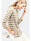 Langes Baumwoll/Modal-Streifenshirt mit überschnittenen Schultern in Petite-Größe