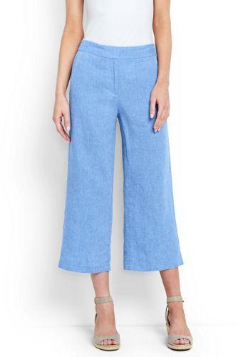 Women's Linen Wide Leg Crop Trousers