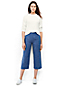 Women's Regular Print Linen Wide Leg Crop Trousers
