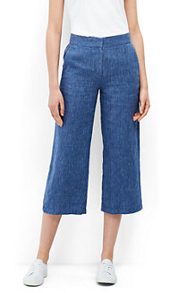 Women's Print Linen Wide Leg Crop Trousers