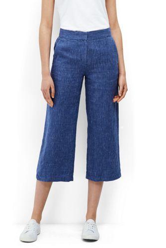 Women's Petite Print Linen Wide Leg Crop Trousers