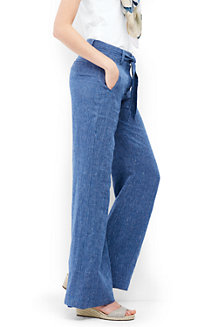 Le Pantalon Large Rayé en Lin, Femme