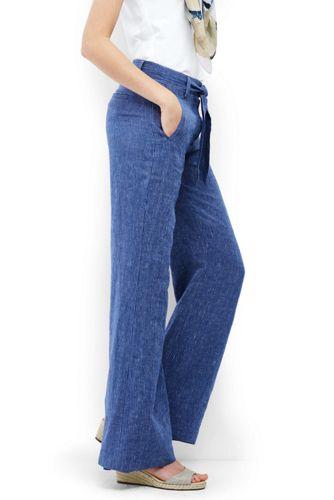 Women's Regular Stripe Linen Tie-waist Wide Leg Trousers