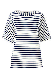 Women's  Elbow Sleeve Jersey Stripe Top