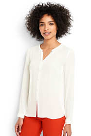 Women's Petite Long Sleeve Button Front Blouse