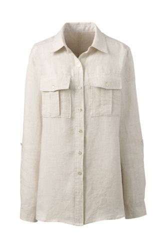 Women's Regular Pure Linen Utility Shirt