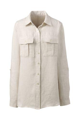 Women's Regular Pure Linen Utility Shirt