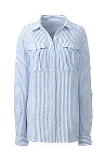 Women's Striped Irish Linen Utility Shirt