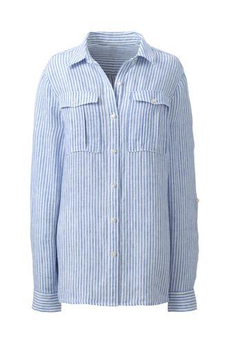 Women's Regular Striped pure Linen Utility Shirt