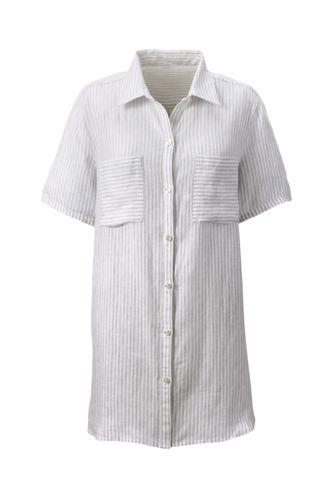 Women's Regular Short Sleeve Print Linen Shirt