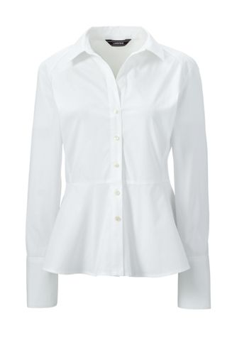 Women's Regular Stretch Cotton Peplum Blouse