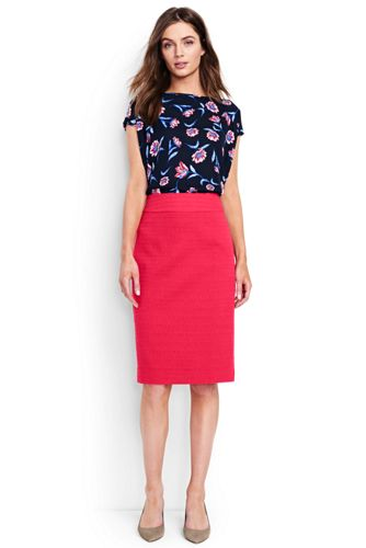 Women's Regular Woven Textured Pencil Skirt