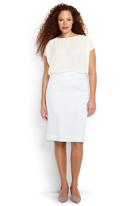 Women's Plus Size Woven Pencil Skirt