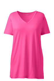 Women's Plus Size Petite Supima Cotton Short Sleeve V-neck Tunic Top