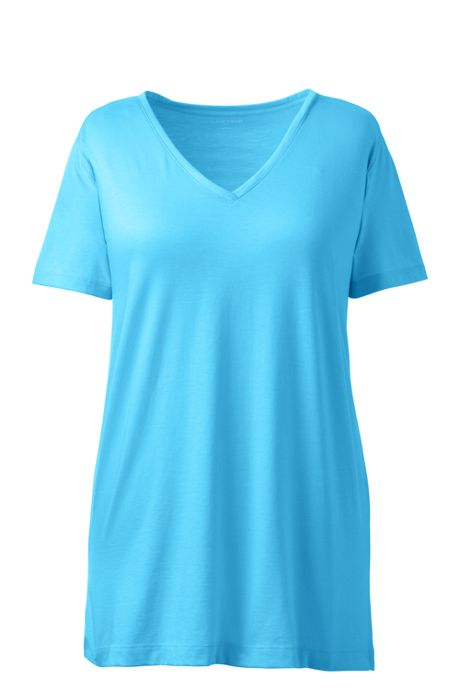 Women's Plus Size Supima Cotton Short Sleeve V-neck Tunic Top