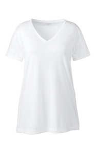 Women's Plus Size Supima Cotton Short Sleeve V-neck Tunic Top