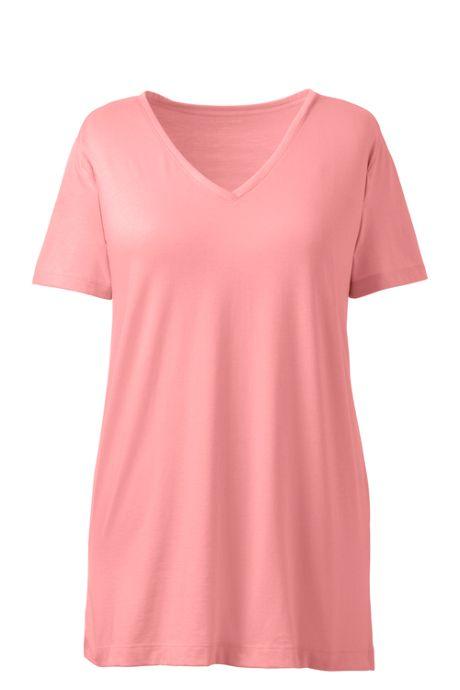 7602ef81005 Women's Plus Size Supima Cotton Short Sleeve V-neck Tunic Top, Tops ...