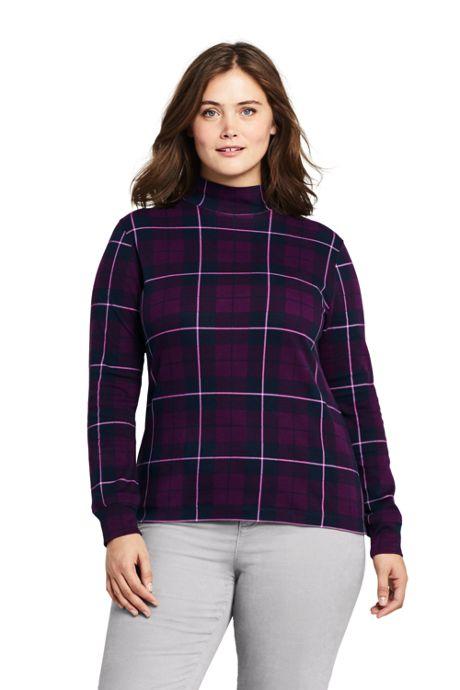 Women's Plus Size Relaxed Cotton Mock Turtleneck