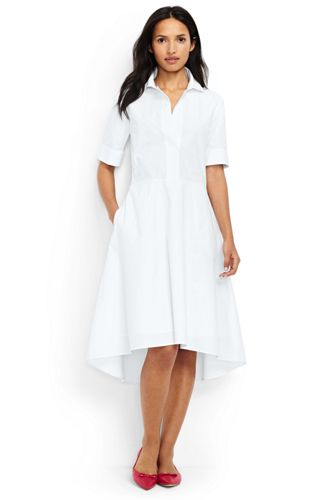 Women's Petite Short Sleeve Popover Shirtdress by Lands' End