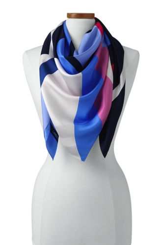 Women's Stripe Silk Square Scarf