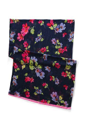 Viskose/Leinenschal mit Blütenmuster für Damen