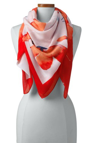 Womens Hibiscus Scarf - Orange Lands End Ad8Rx