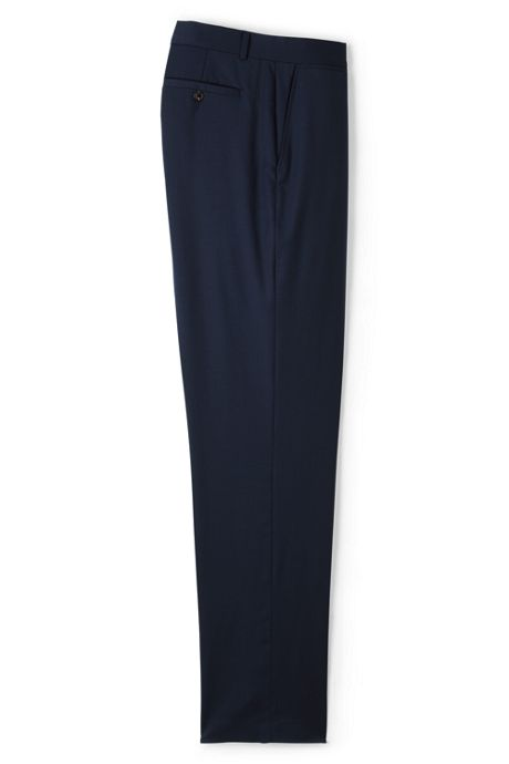 Men's Traditional Fit Plain Front Wool Gabardine Pants
