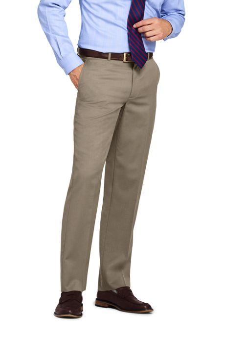 Men's Traditional Fit Plain Front Wool Gabardine Pants
