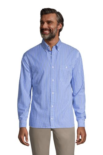 Men's Long Sleeve Seersucker Cotton Shirt