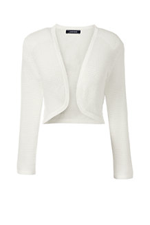 ... Eggshell White Women's Supima 3-Quarter Sleeve Pointelle Bolero ...