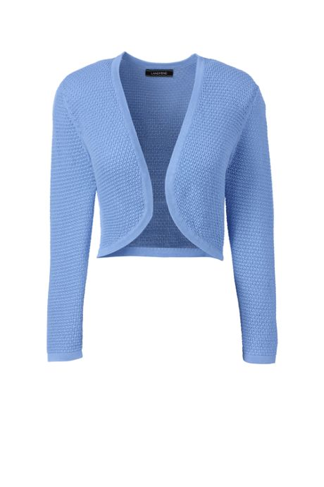 Women's Petite Supima 3/4 Sleeve Pointelle Bolero Sweater