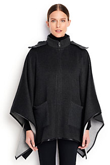 Women's Double-face Wool Blend Poncho