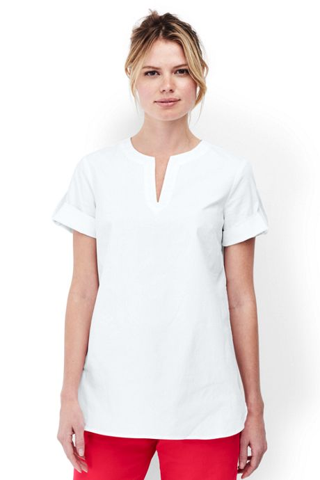 Women's Petite Cap Sleeve Poplin Shirt