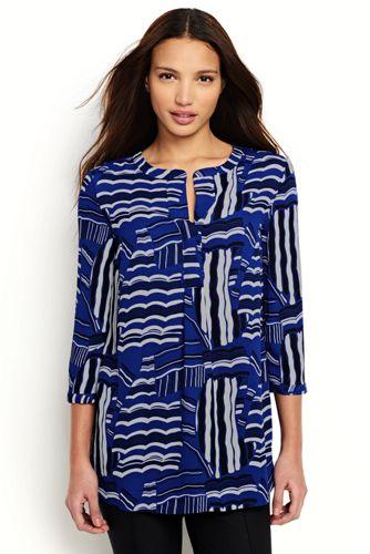 Women's Regular Print Popover Tunic Blouse