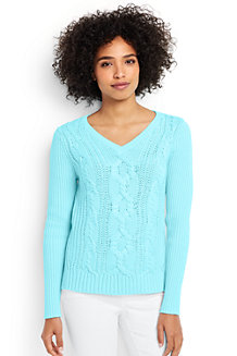 Drifter-Pullover mit Zopfmuster und V-Ausschnitt für Damen
