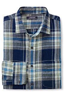 Men's  Plaid Long Sleeve Linen Shirt