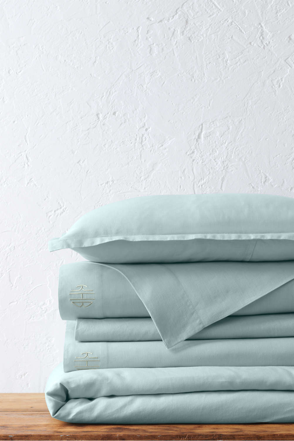 Garment washed linen duvet cover and sham from lands end