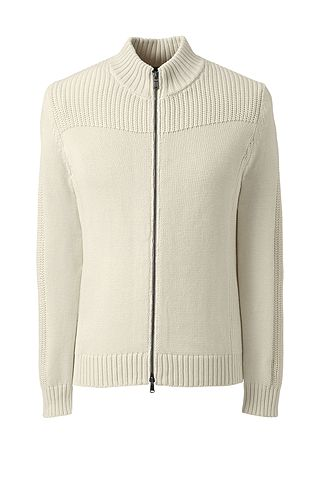 Cotton Drifter Zip-front Cardigan Sweater 484467: White Canvas