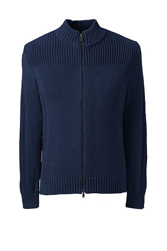 Cotton Drifter Zip-front Cardigan Sweater 484467: Midnight Sky Heather