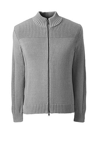 Cotton Drifter Zip-front Cardigan Sweater 484467: Gray Heather