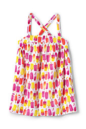 Little Girls Woven Strappy Tank-Pink Ice Pops