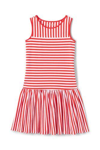 Girls' Drop Waist Striped Sleeveless Jersey Dress