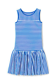 Girls' Drop Waist Striped Sleeveless Jersey Dress