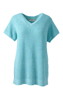 Women's Linen/Cotton Dolman Sleeve Pointelle V-neck Jumper