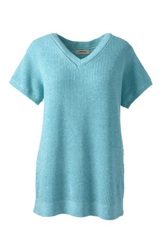 Women's Regular Linen/Cotton Dolman Sleeve Pointelle V-neck Jumper