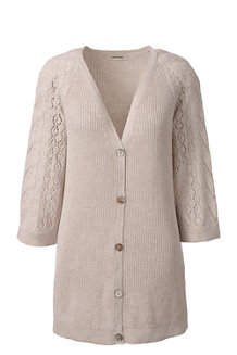 Women's Linen/Cotton Raglan Sleeve Pointelle Cardigan