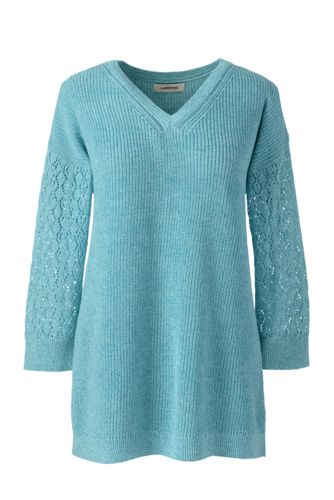Women's Linen/Cotton Three-quarter Sleeve Pointelle V-neck Jumper