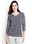 Women's Linen/Cotton Three-quarter Sleeve Pointelle V-neck Jumper